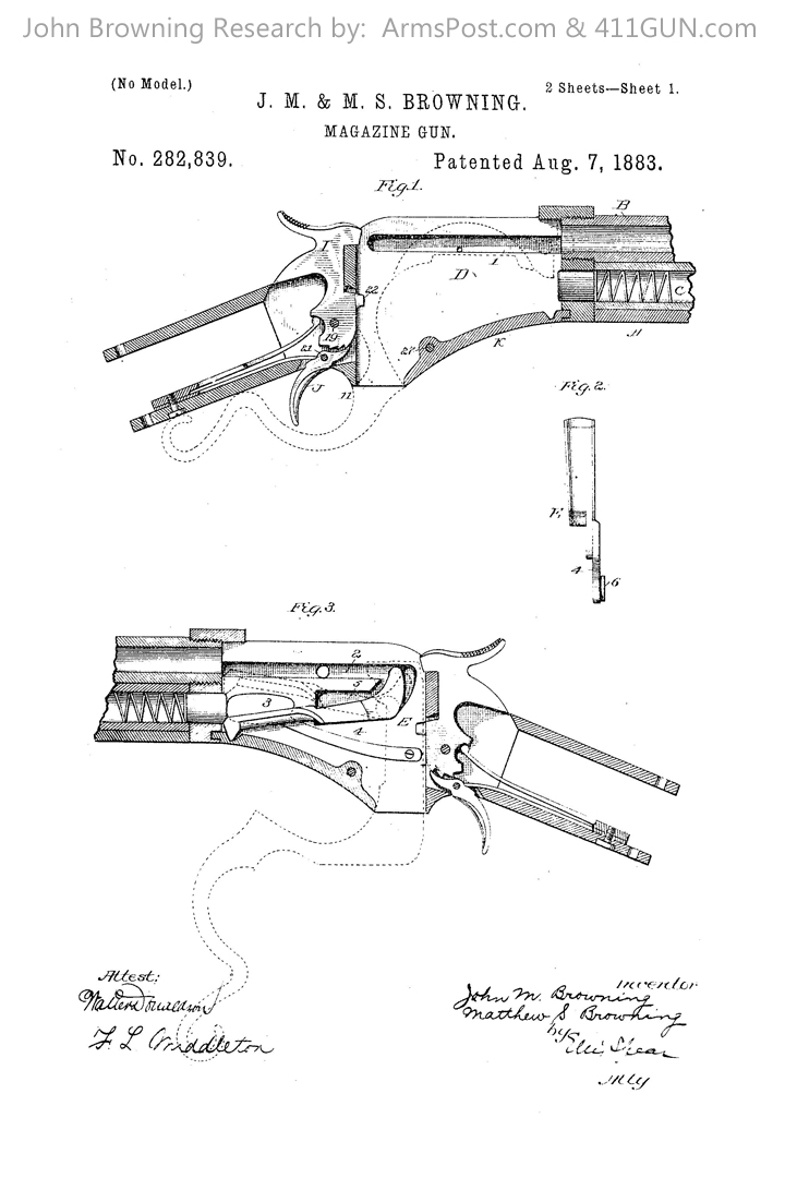 John Browning US Patent 282839 Drawing 1
