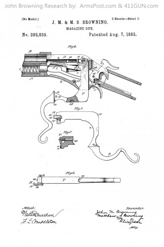 John Browning US Patent 282839 Drawing 2