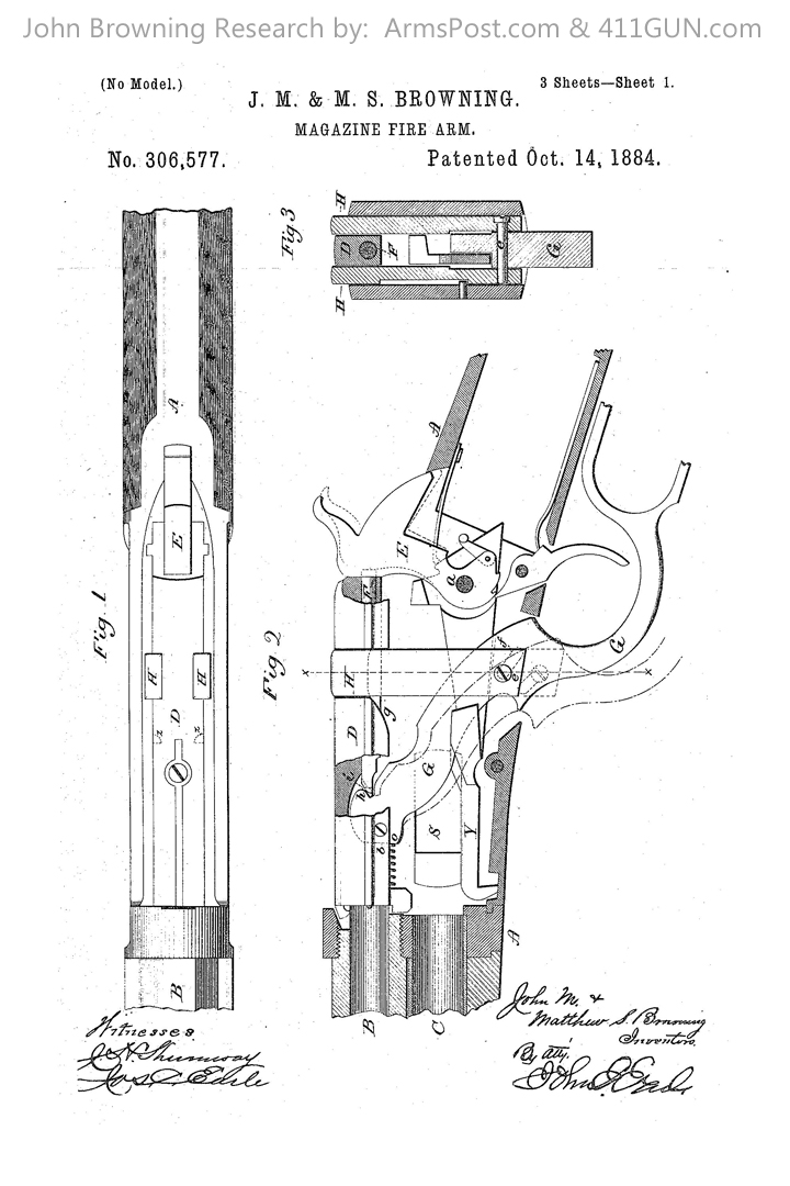 John Browning Winchester Model 1886 Patent Drawing 1