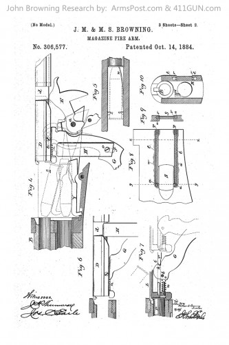 John Browning Winchester Model 1886 Patent Drawing 2