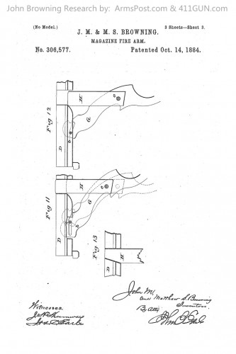 John Browning Winchester Model 1886 Patent Drawing 3