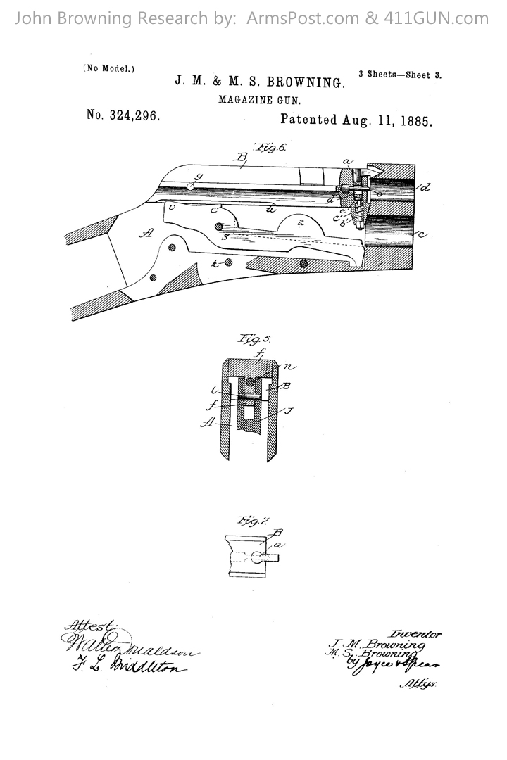 John Browning US Patent 324296 Drawing 3