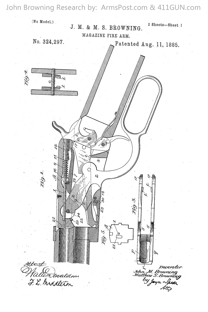 John Browning US Patent 324297 Drawing 1