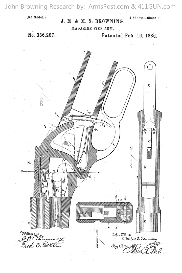 John Browning Winchester Model 1887/1901 US Patent 336287 #1
