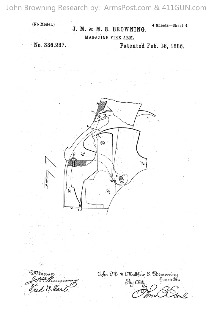 John Browning Winchester Model 1887/1901 US Patent 336287 #4