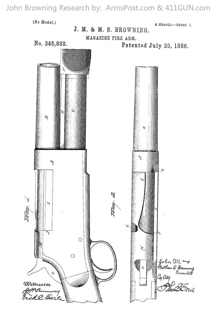 John Browning US Patent 345882 #1