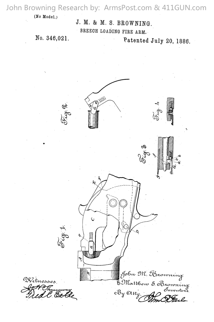 John Browning US Patent 346021 Drawing