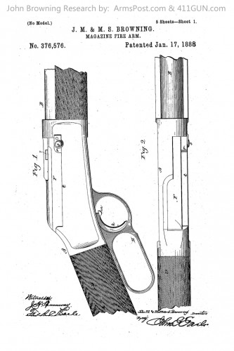 376576 John Browning US Patent Drawing 1