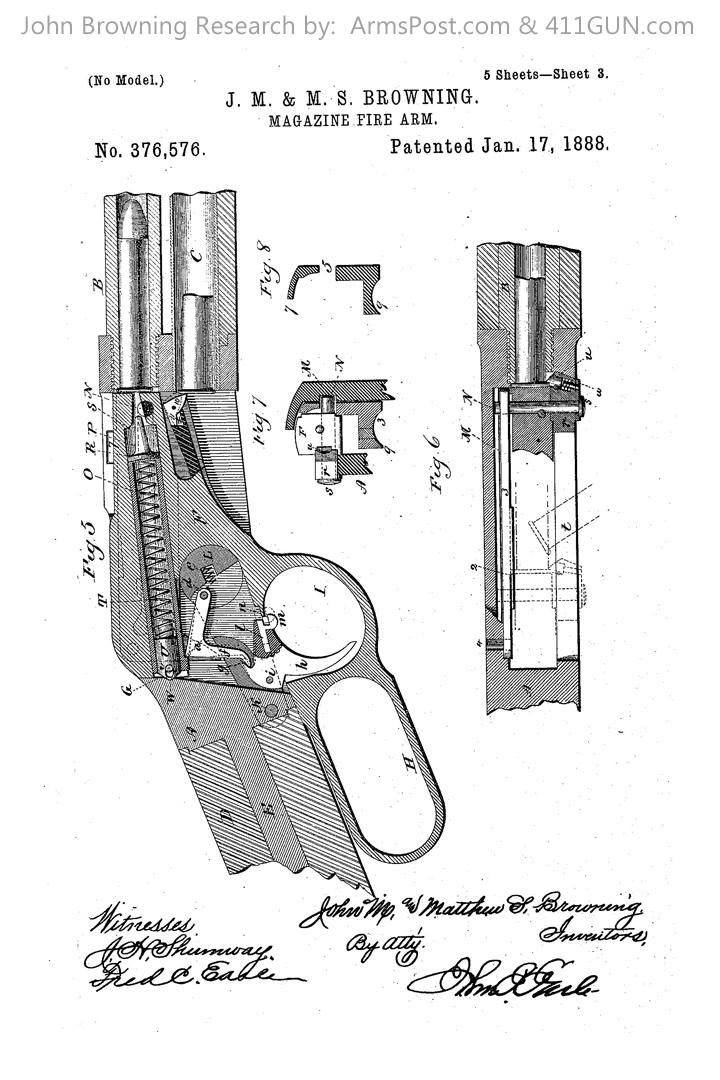 376576 John Browning US Patent Drawing 3
