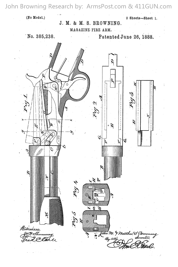 385238 John Browning Winchester Model 1890 US Patent Drawing 1