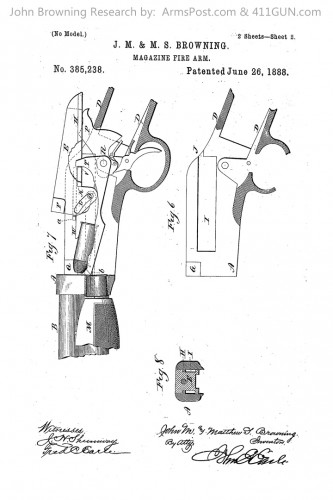 385238 John Browning Winchester Model 1890 US Patent Drawing 2