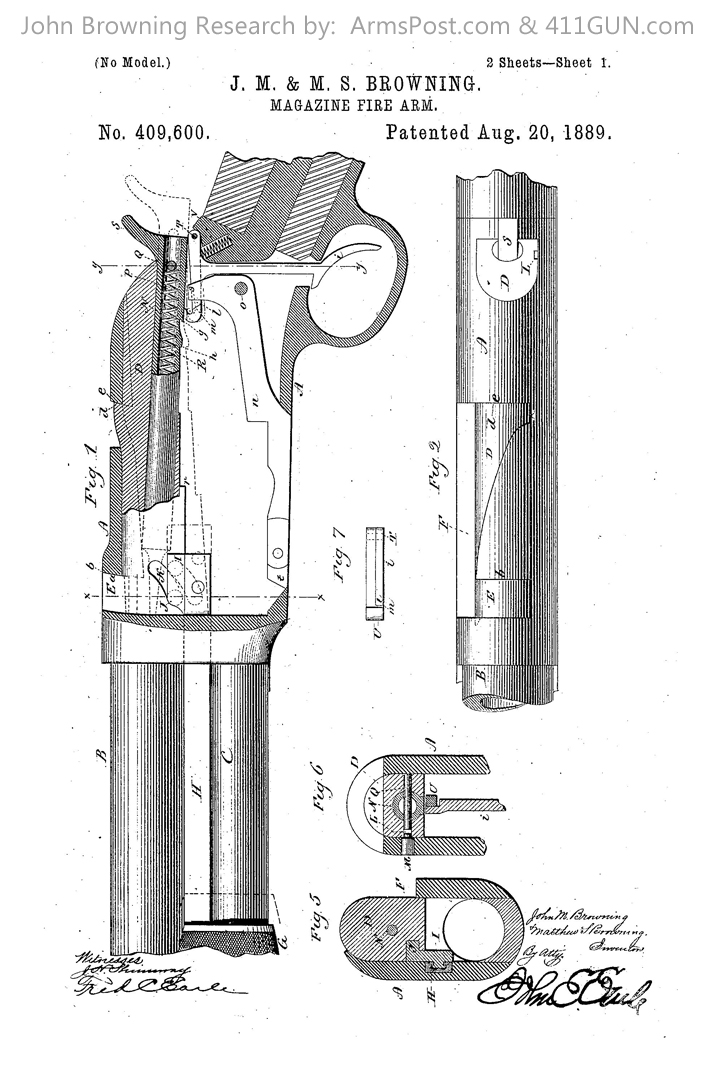409600 John Browning US Patent Drawing 1