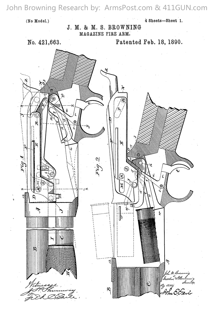 421663 John Browning US Patent Drawing 1