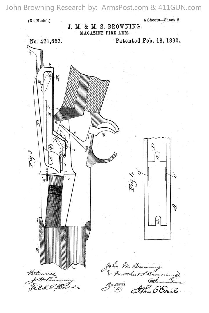 421663 John Browning US Patent Drawing 2