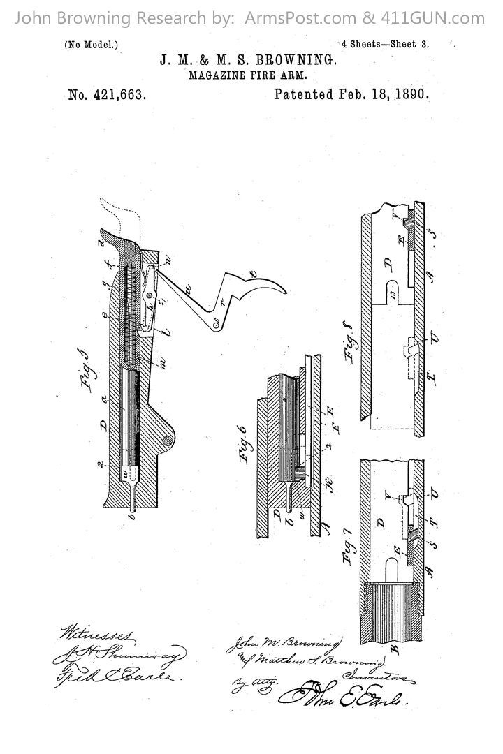 421663 John Browning US Patent Drawing 3