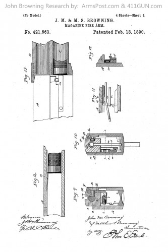 421663 John Browning US Patent Drawing 4