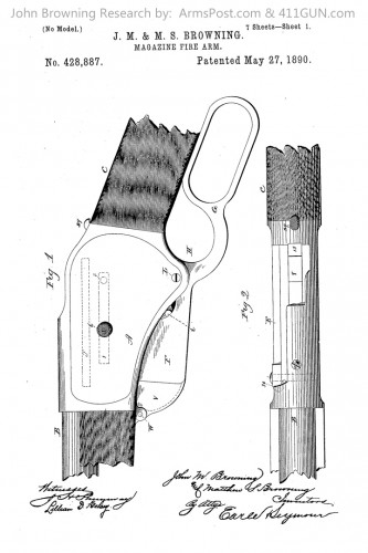 428887 John Browning US Patent Drawing 1