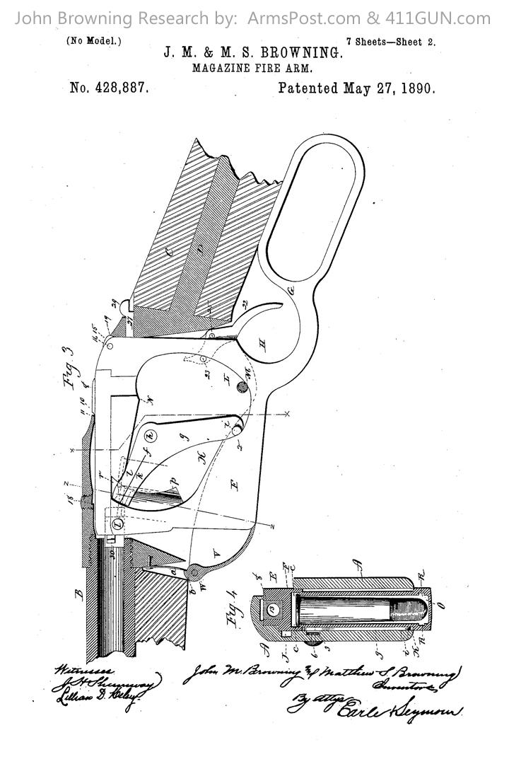 428887 John Browning US Patent Drawing 2