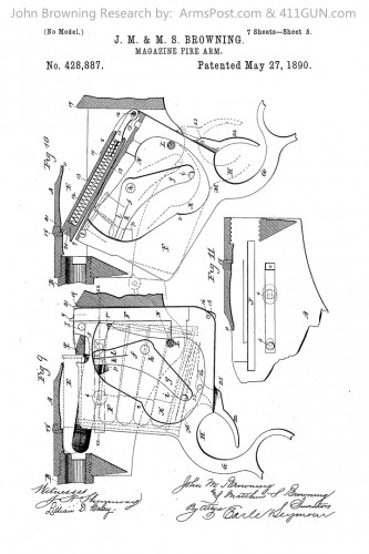 428887 John Browning US Patent Drawing 5