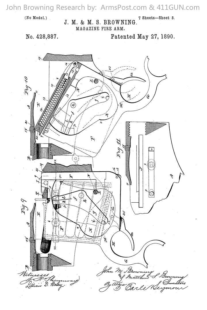 428887 John Browning US Patent Drawing 5