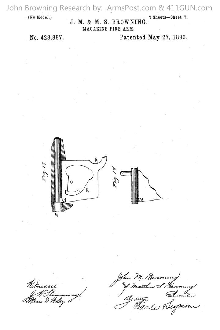 428887 John Browning US Patent Drawing 7