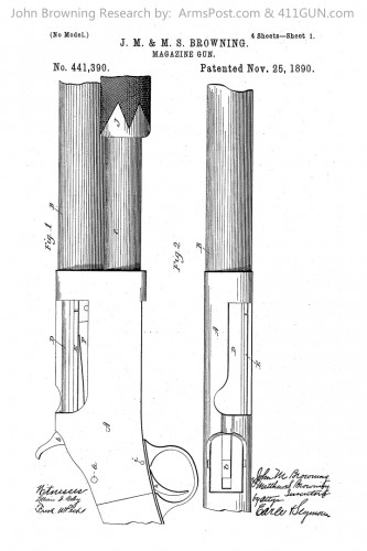 John Browning Winchester Model 1893 1897 US Patent 441390 Drawing 1