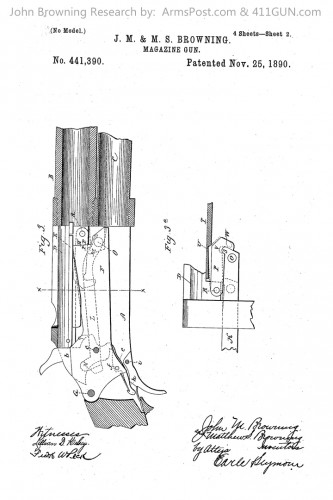 John Browning Winchester Model 1893 1897 US Patent 441390 Drawing 2
