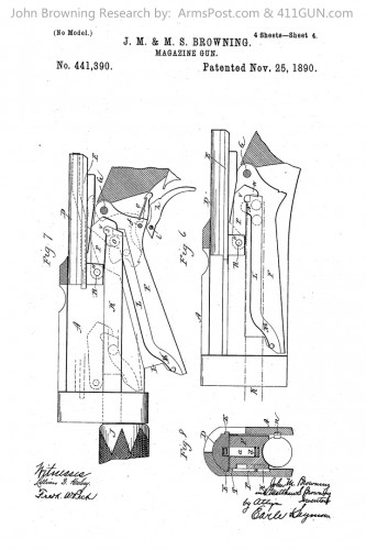 John Browning Winchester Model 1893 1897 US Patent 441390 Drawing 4