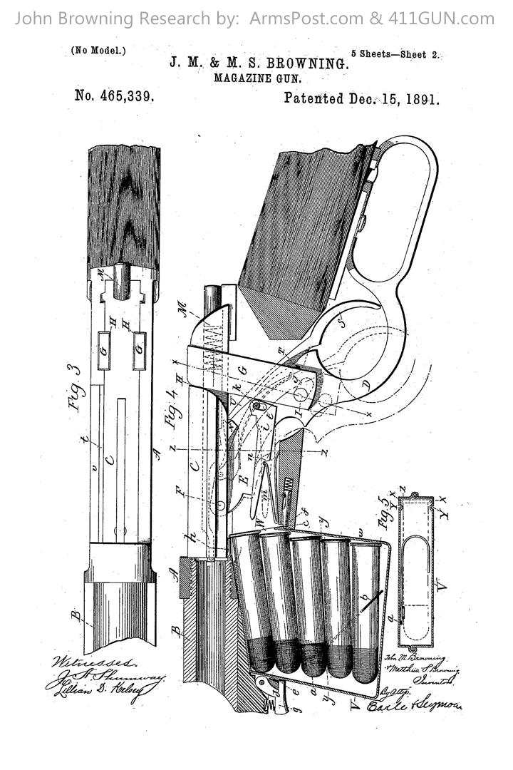 John Browning Winchester Model 1892 US Patent 465339 Drawing 2