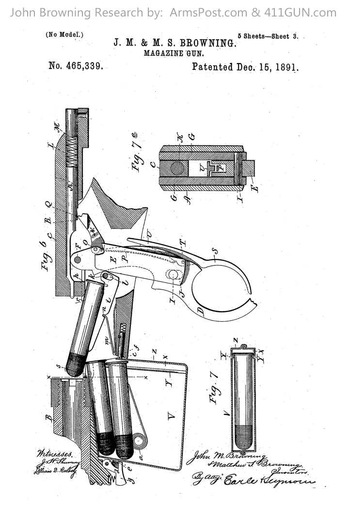 John Browning Winchester Model 1892 US Patent 465339 Drawing 3
