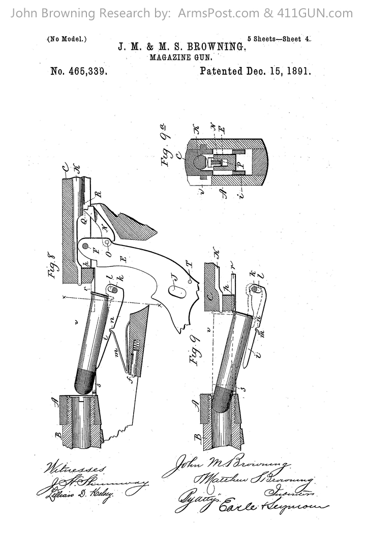John Browning Winchester Model 1892 US Patent 465339 Drawing 4