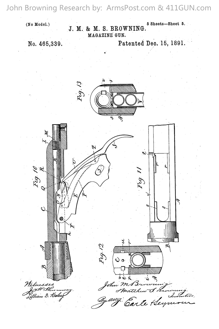 John Browning Winchester Model 1892 US Patent 465339 Drawing 5