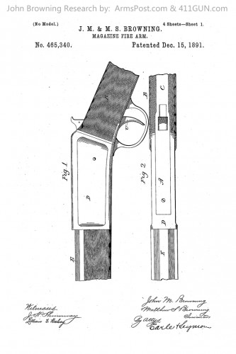 John Browning US Patent 465340 Drawing 1