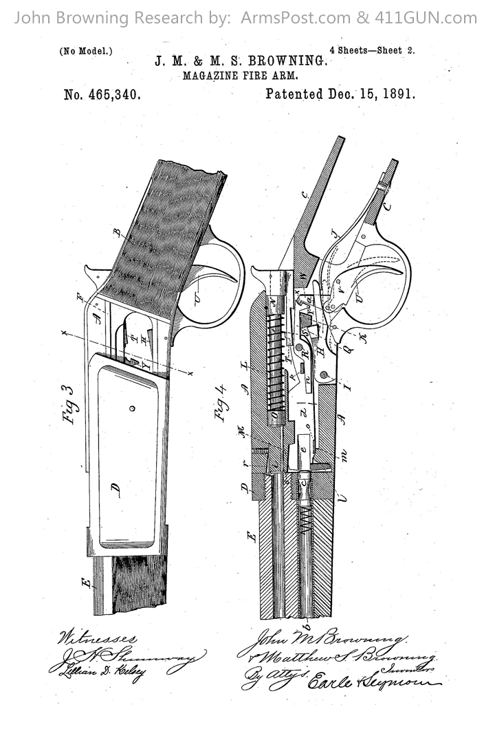 John Browning US Patent 465340 Drawing 2
