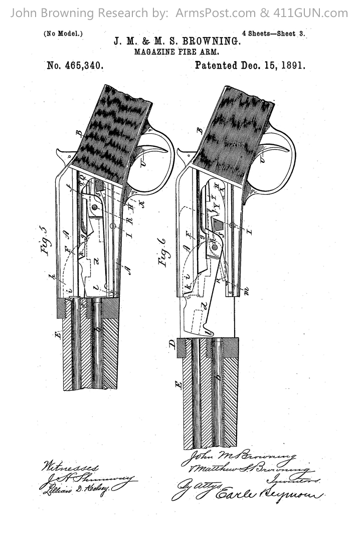 John Browning US Patent 465340 Drawing 3