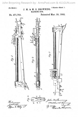 John Browning US Patent 471783 Drawing 1