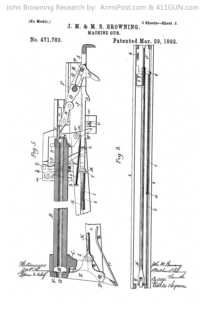 John Browning US Patent 471783 Drawing 2