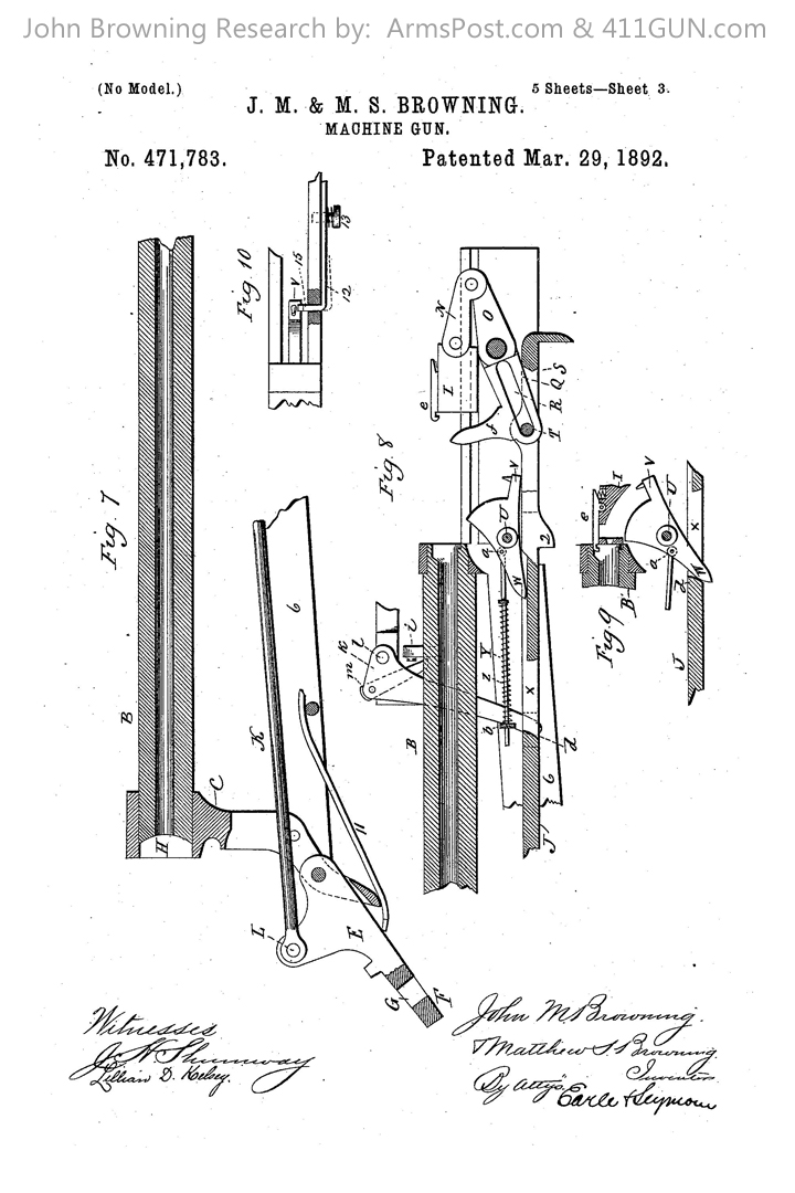 John Browning US Patent 471783 Drawing 3
