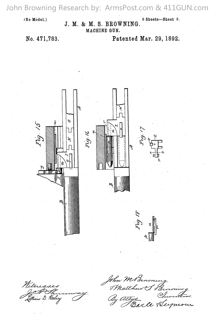 John Browning US Patent 471783 Drawing 5