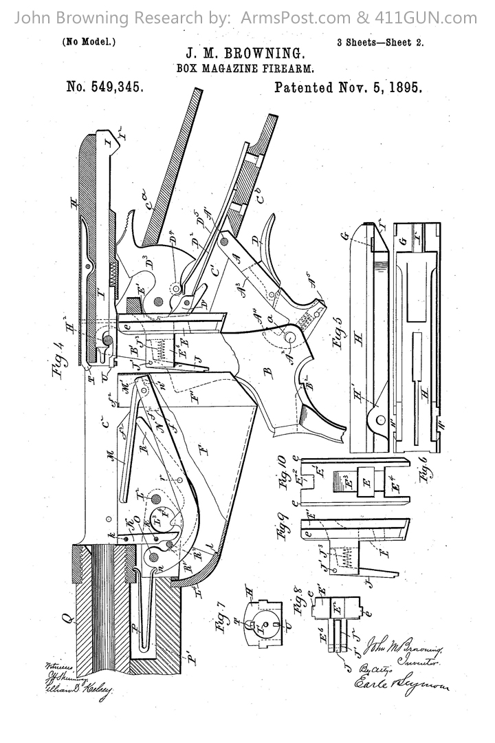 John Browning US Patent 549345 Winchester Model 1895