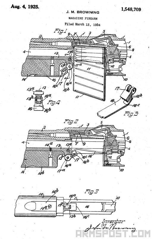 John Browning M1918 BAR Patents