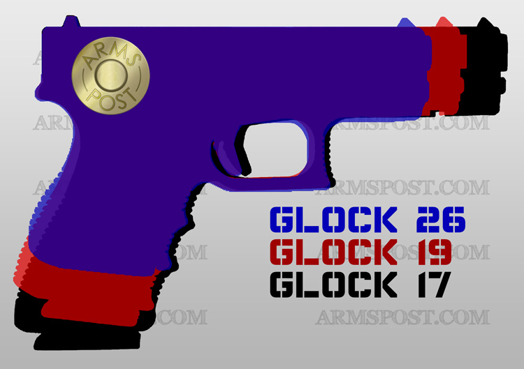 Glock G17, G19, & G26 9mm Pistol Comparison and Size Difference