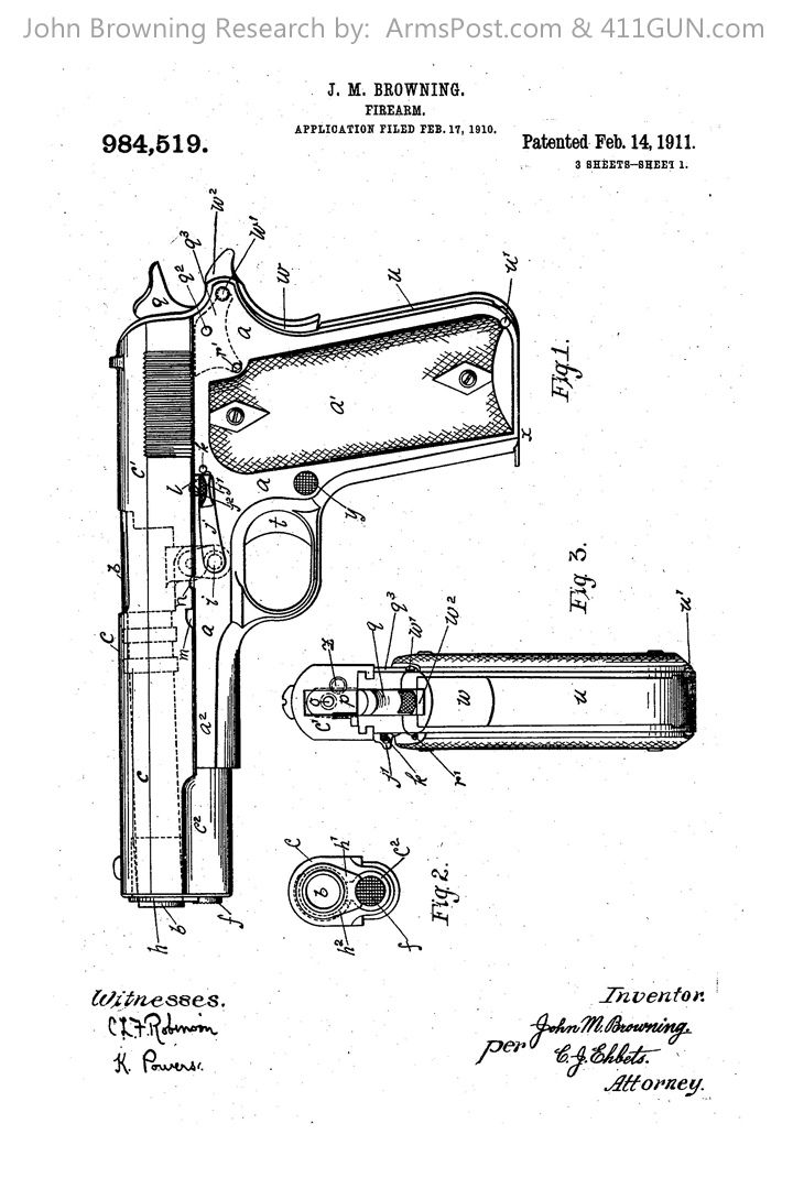 1911 pistol design by John Browning drawing 1
