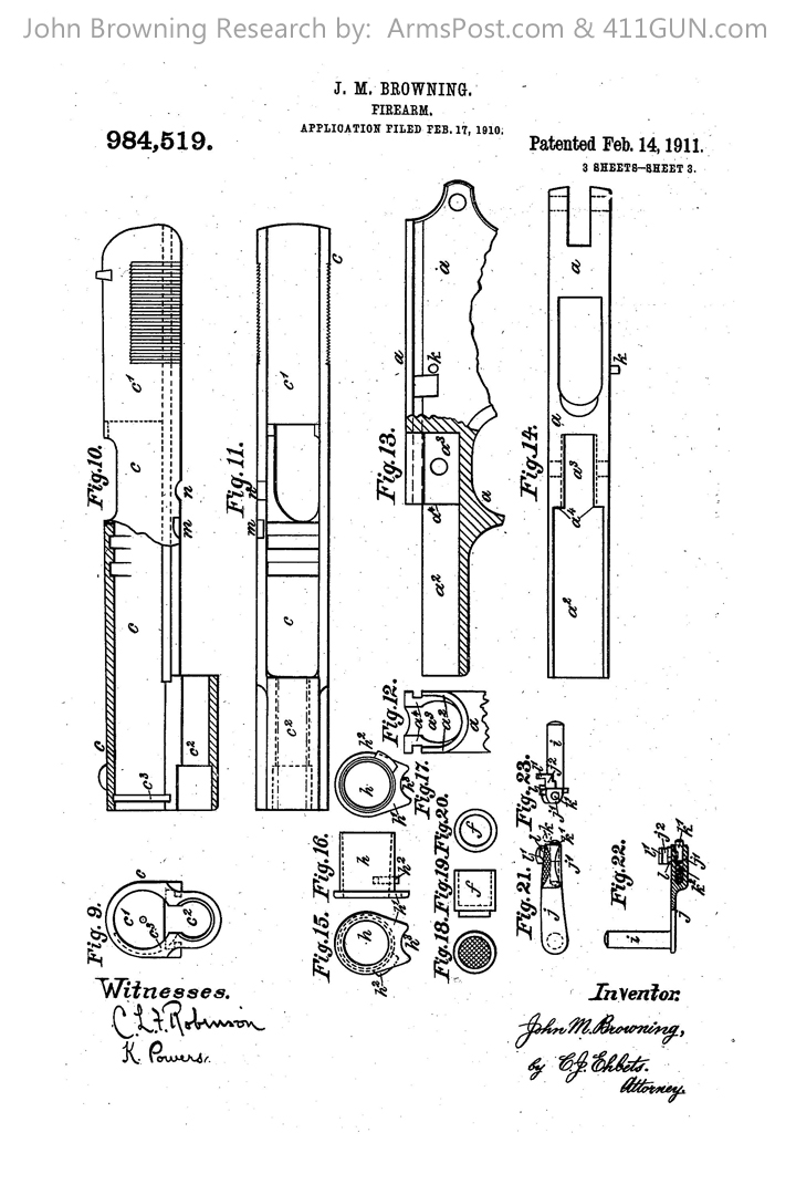 1911 pistol design by John Browning Drawing 3