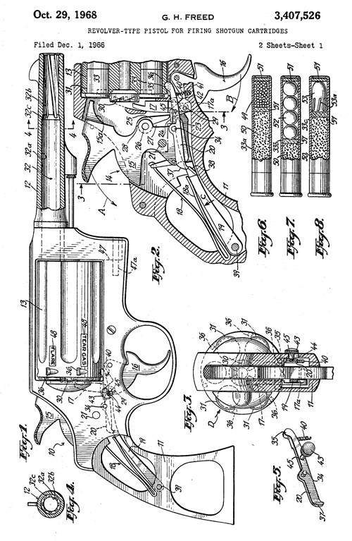 George H Freed Revolver US Patent 3407526 Drawing 1