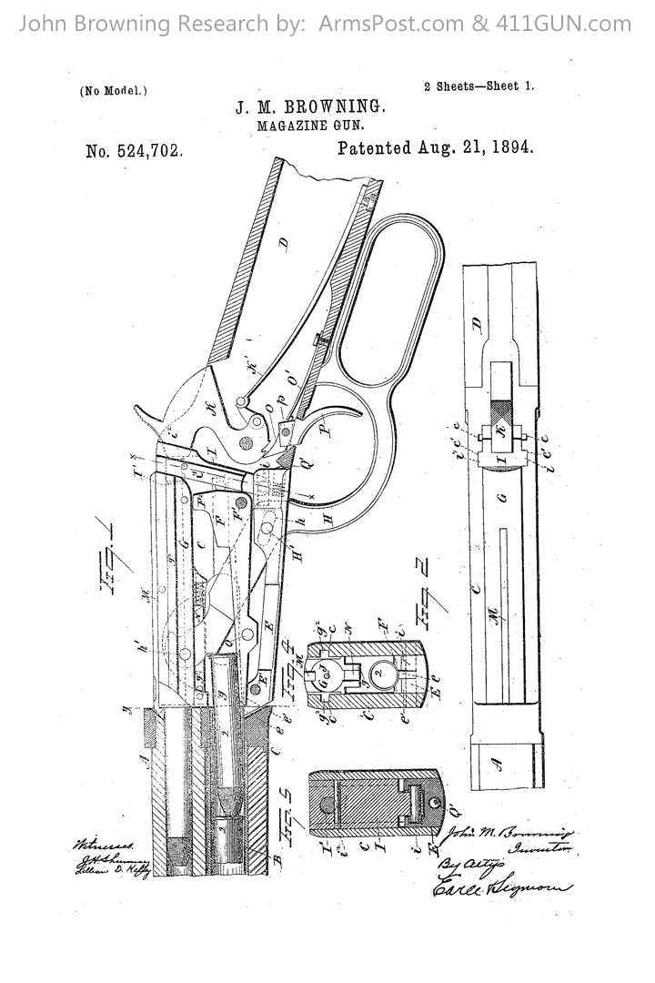 John Browning US Patent 524702 Winchester Model 1894