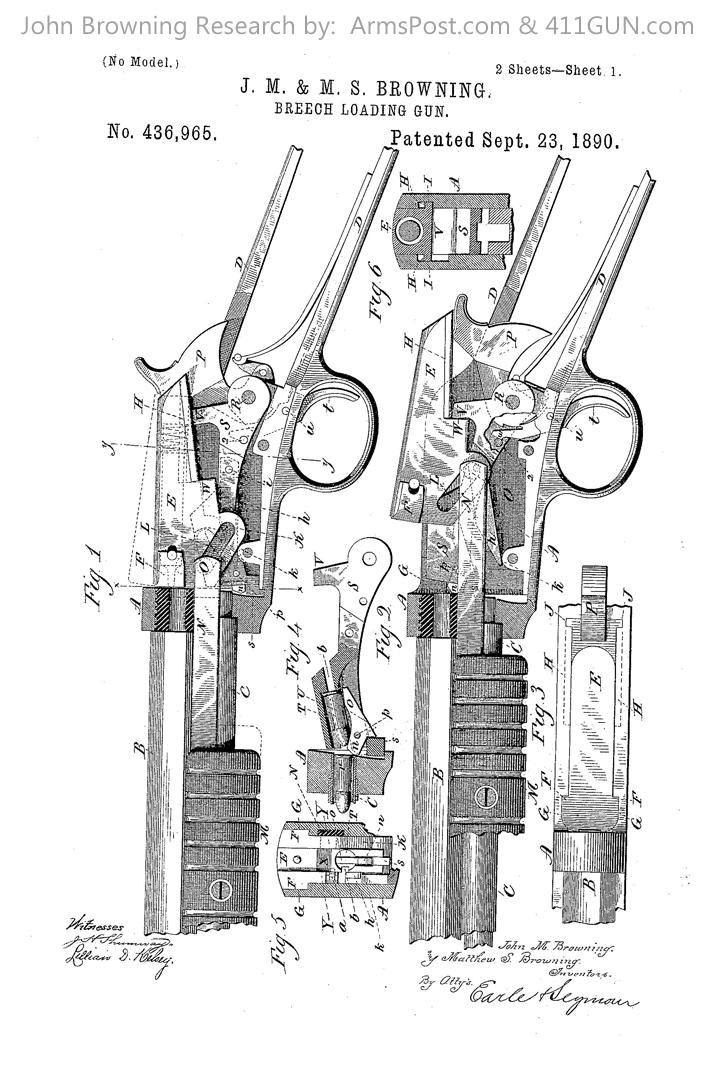 John Browning US Patent 436965 Drawing 1