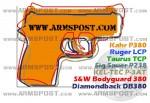 Kahr P380 Pocket Pistol Size Comparison DB380 P3AT LCP P238 Bodyguard 380 TCP img1