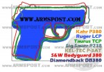 Ruger LCP 380 ACP Pocket Pistol Size Comparison DB380 P380 P3AT LCP P238 Bodyguard 380 TCP img1