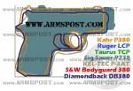 Sig Sauer P238 380 ACP Pocket Pistol Size Comparison DB380 P380 P3AT LCP P238 Bodyguard 380 TCP img2
